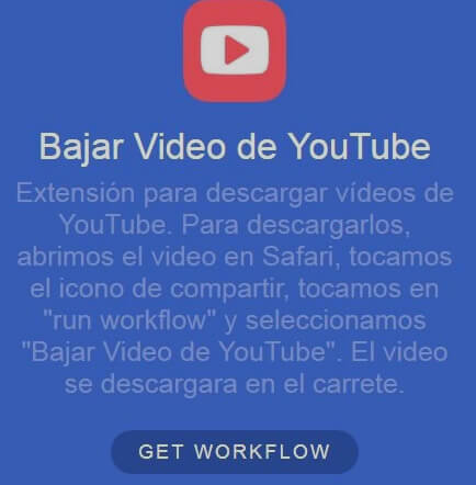 descargar video infantil de Youtube con Workflow