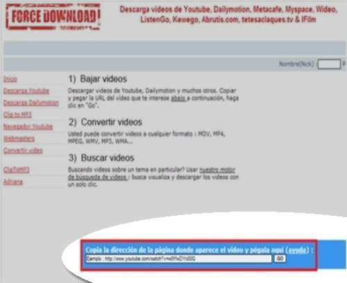 descargar vidoe largo de Youtube con Force Download