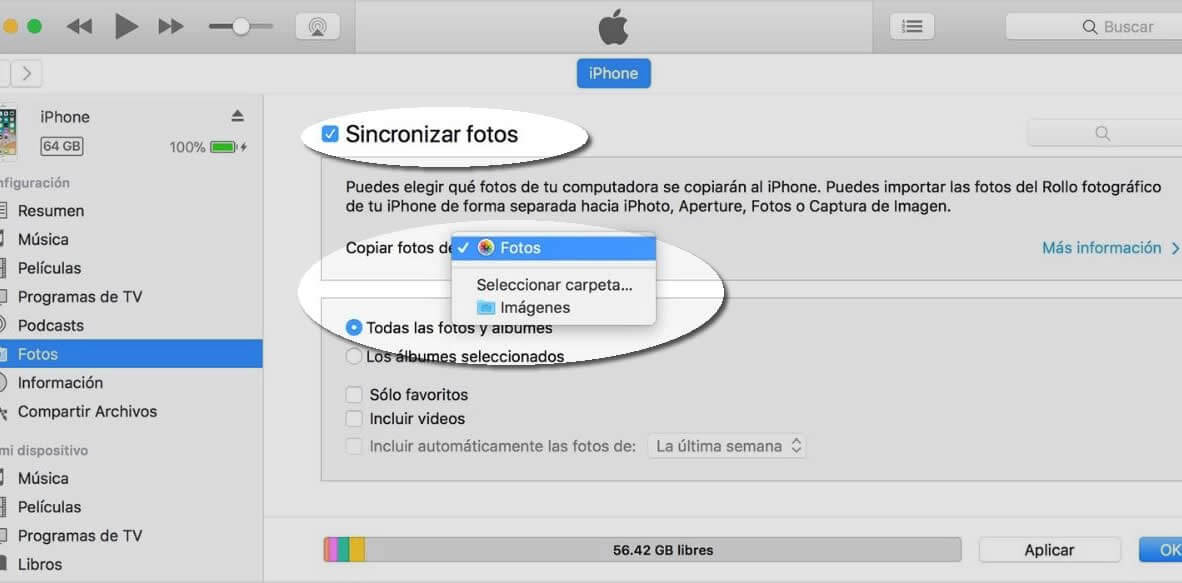sincronizar fotos con ITunes