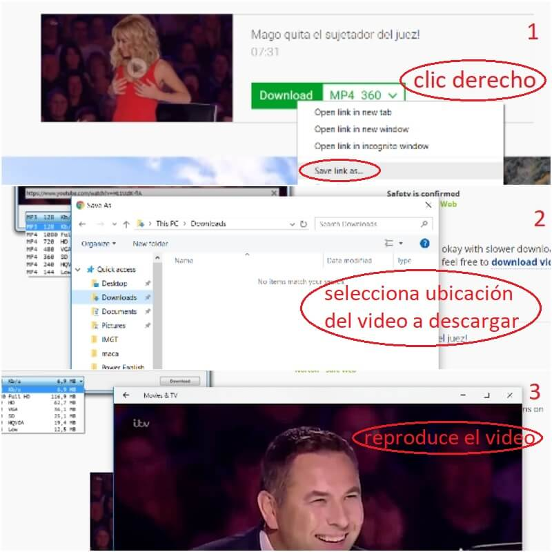 Descargando el video de youtube con ss en savefrom.net