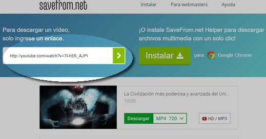 Descargar video en android sin programas