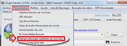 activar descarga del video de Youtube con subtitulos