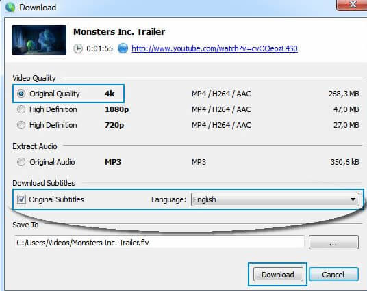 descargar video de Youtube con subtitulos usando 4k Video Downloader